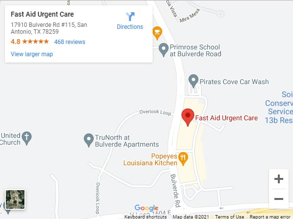 Get Directions to Fast Aid Urgent Care in San Antonio, TX 78259 on 17910 Bulverde Rd #115.